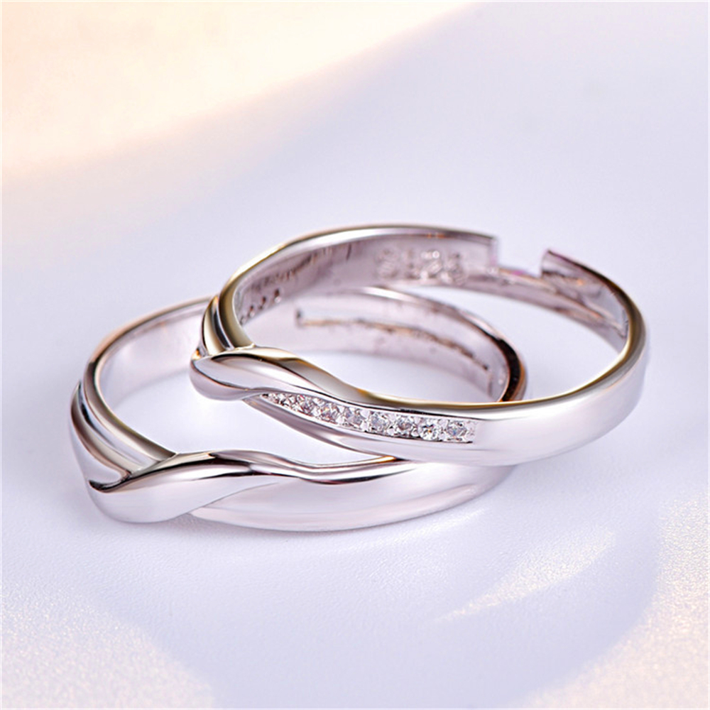 Fashion and lovely a pair of open - ended crystal encrusted couples metal ring, love memorial proposal for party wedding(China)