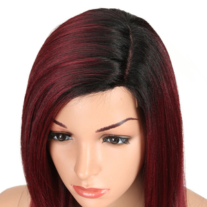 Image 4 - MAGIC Lace Front Synthetic Wigs For Black Women Middle Long 24 Soft Ombre Red Wig With Dark Roots Wavy Heat Resistant Fiber Hair