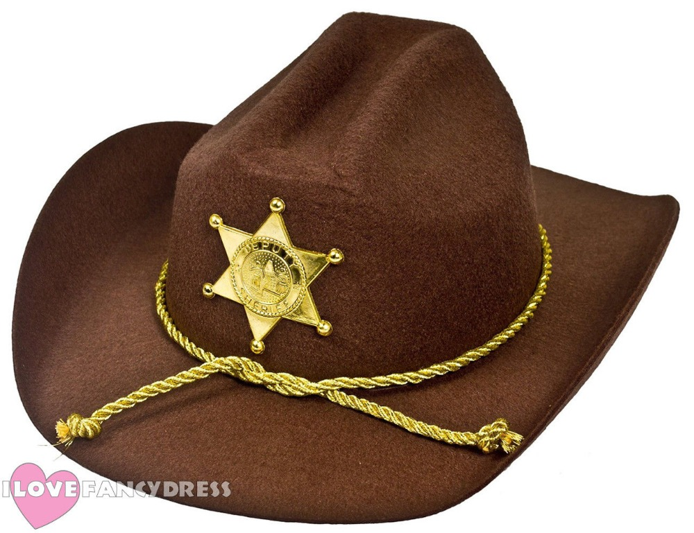 COWBOY WESTERN WILD SHERIFF HAT GOLDEN STAR BADGE US DEPUTY FANCY DRESS AMERICAN POLICE COP HALLOWEEN PARTY COSTUME ACCESSORY