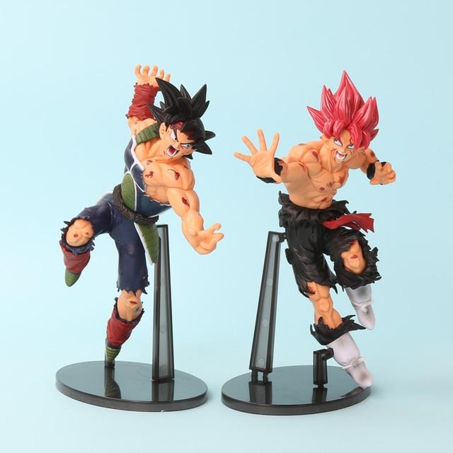 2 pçs/set Dragon Ball Z Scultures GRANDE Ressurreição F Bardock Figura de Ação Son Goku Super Saiyan Deus Cabelo Preto Vermelho brinquedo