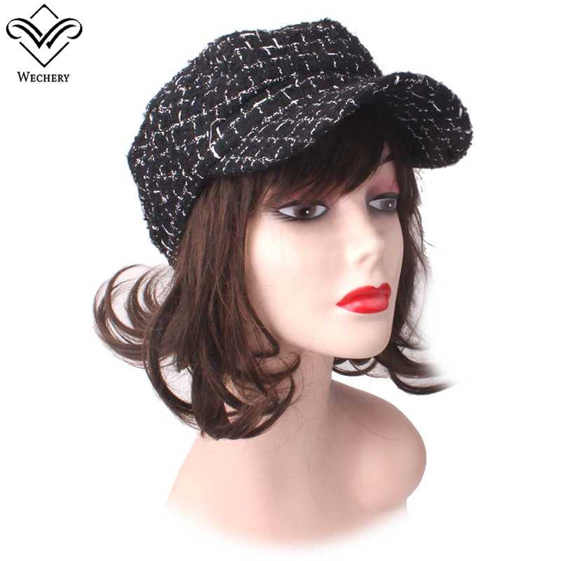 Wechery Plaids Cap Ladies Fashion Accessories Elegant Black White Baseball Caps for Women Winter Knit Warm Hats Female