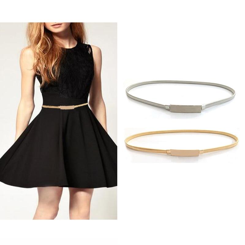 Seabigtoo Metal Plate Belts For Women Designer Brand Women Belts Female High Quality Gold Silver Waist Chain Elastic Thin Belts