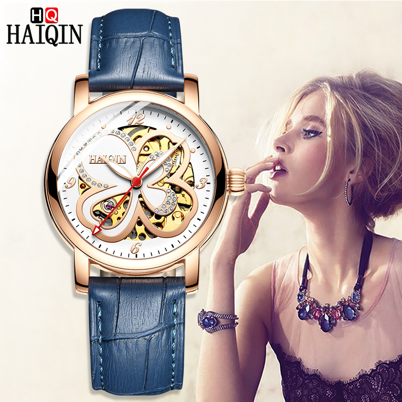 HAIQIN women's watches luxury women watches top brand sport wrist watch mechanical watch Fashion Ultra-thin relogio feminino New