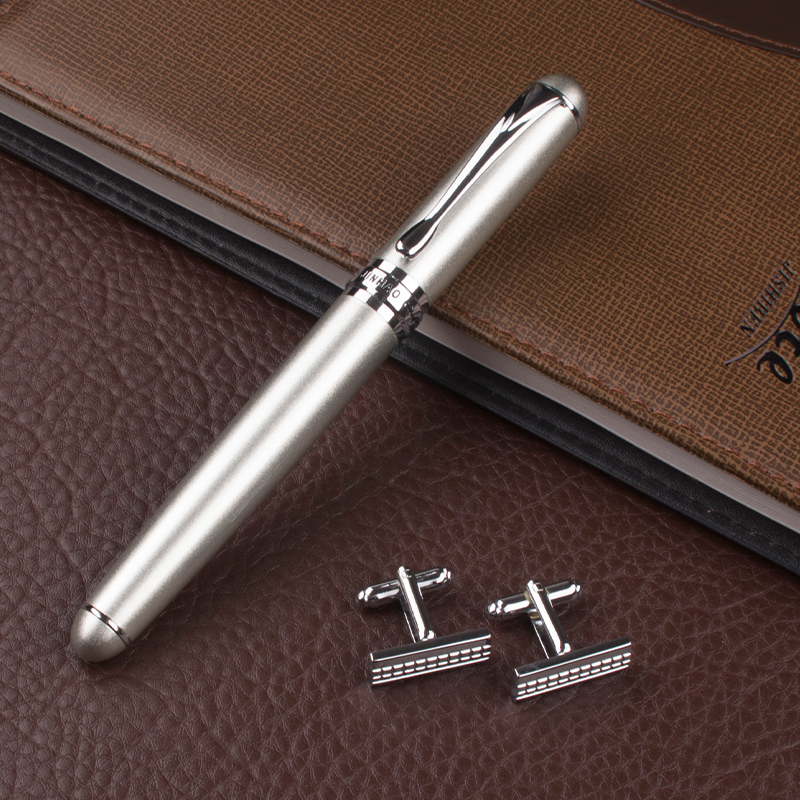 Free Shipping Jinhao X750 Silver Stainless Steel Medium rollerball pen refill ang high quality cufflinks Gift box loaded ysdx 398 fashion stainless steel self stirring mug black silver 2 x aaa