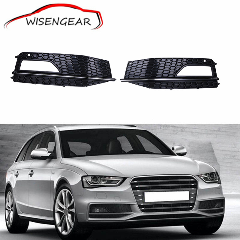 2x a4 car front bumper cover grills fog lights grille. Black Bedroom Furniture Sets. Home Design Ideas