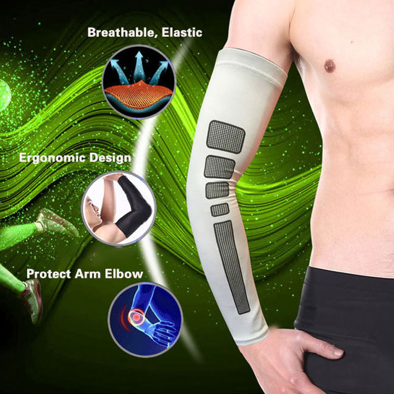 1 Pc Men Geometric Sport Arm Warmers Sleeves Breathable Cycling Running Bicycle UV Sun Protection Cuff Cover Arm Elbow Armwarmer in Running Arm Warmers from Sports Entertainment