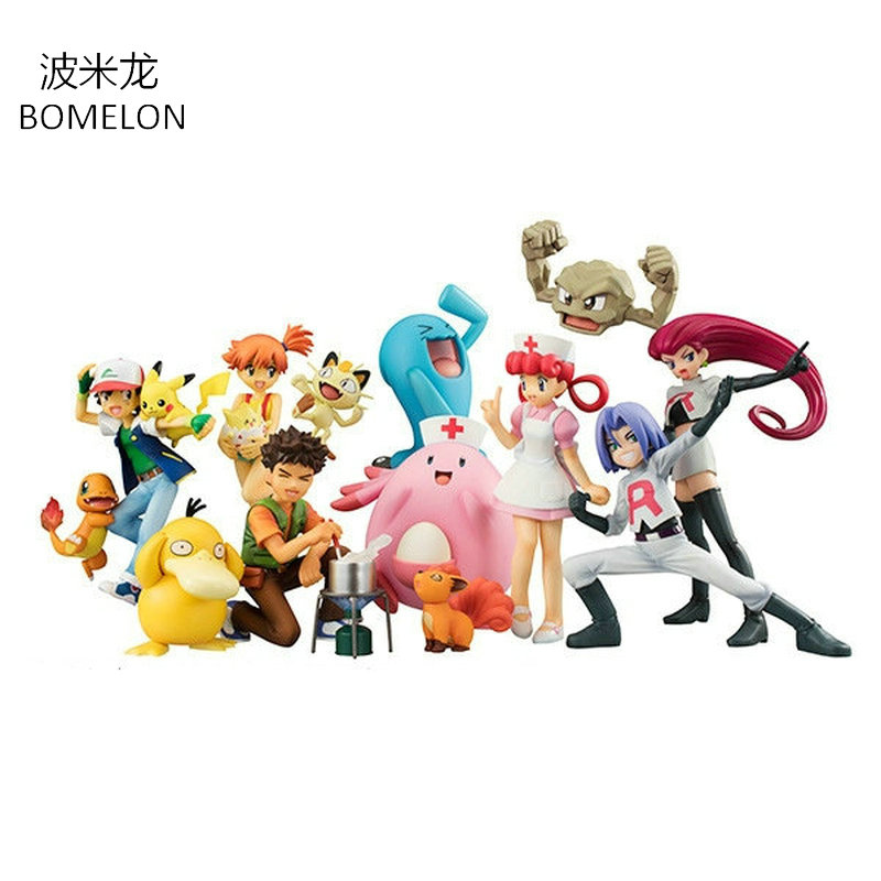Pocket Monster Aciton FiguresToys Ash Ketchum+Pikachu/Misty+Psyduck/James+Meowth Anime Figure Doll Kids Birthday Christmas Gift mymei 2016 unisex anime cosplay pokemon monster ash ketchum baseball trainer cap hat
