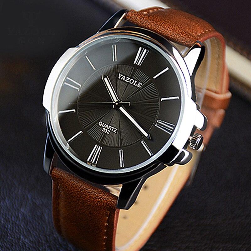 Más nuevo YAZOLE hombres relojes Top marca de lujo cristal azul reloj hombres reloj impermeable de cuero romano reloj de los hombres reloj Masculino relojes