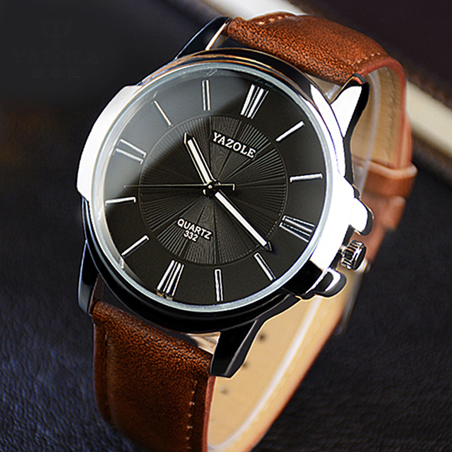 Newest YAZOLE Mens Watches Top Brand Luxury Blue Glass Watch Men Watch Waterproof Leather Roman Men's Watch Male Clock relojes