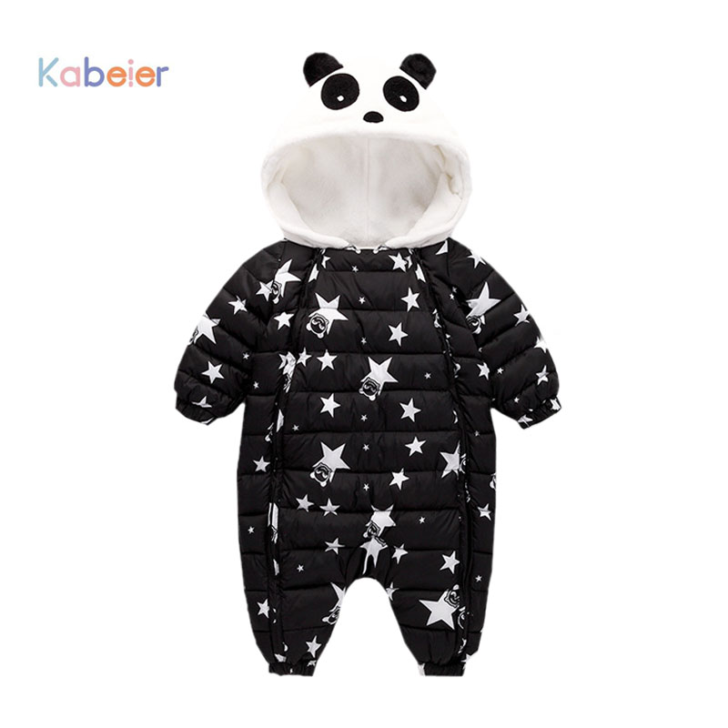 Winter Baby   Rompers   Overalls Clothes Jumpsuit 3-24Mouth Panda Newborn Girl Boy Duck Down Snowsuit Kids infant Snow Wear onepiece
