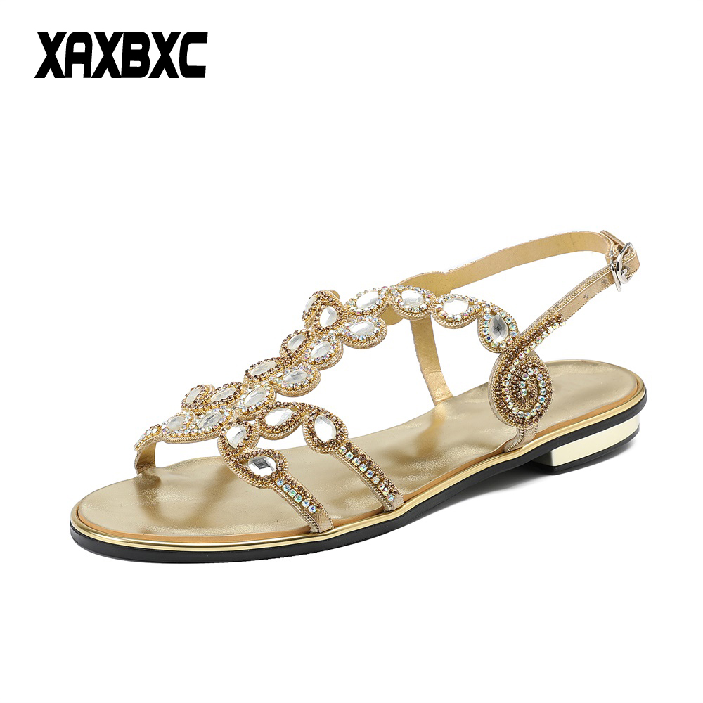cbfc8961ad520 XAXBXC 2018 New Summer Leather Rhinestone Gladiator Sandals Crystal Low Heels  Women Bridesmaid Sandalias Bride Wedding Shoes-in Low Heels from Shoes on  ...
