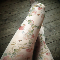 Princess Sweet Lolita Pantyhose Rural Wind Plants Flower Bead Light Coloured Drawing Or Pattern Printed Thin