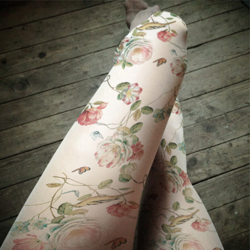Princess sweet lolita pantyhose Rural wind plants flower bead light coloured drawing or pattern printed thin pantyhose LKW89