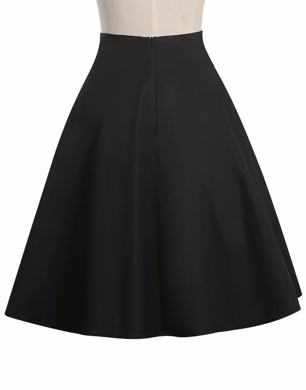 Botón S Black Midi Rana Pinup Saia Vintage Jupe mujeres Rockabilly Faldas Más 50 Tamaño Alta Swing Negro Cintura 49 Falda wS10qg