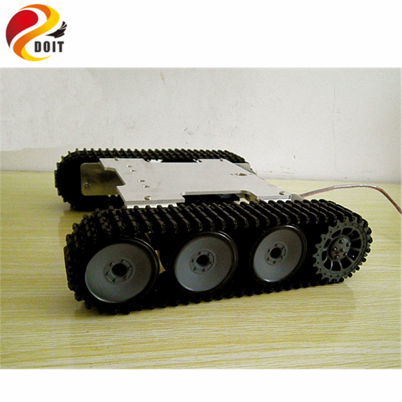 цена на Official DOIT RC Tank Chassis Crawler Intelligent Barrowload Remote Control KIT Tractor Obstacle Caterpillar Wall-e Infrared