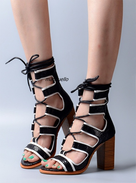 b0f90631441 New Design Cut-out Cross Strap Chunky Heel Gladiator Sandals Color  Patchwork PU Booties Sexy Open toe Lace Up Block Heel Sandals