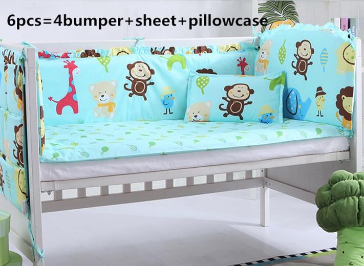 2017! 6/7PCS Baby Crib Bedding Set Newborn Cot Bed Sets Neonate Bumper Pad For Infant Duvet Cover,120*60/120*70cm