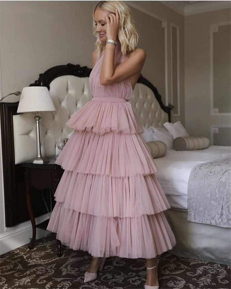 Verngo  Soft Tulle Tiered Evening Dress Morandi Gown New Design Evening Dress 2019 Ankle Length Abendkleider