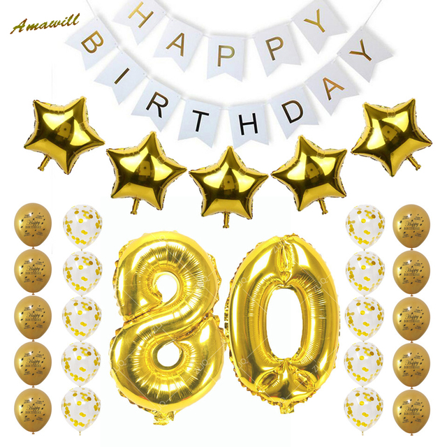 Amawill 80th Birthday Party Decoration Happy Birthday Banner Gold