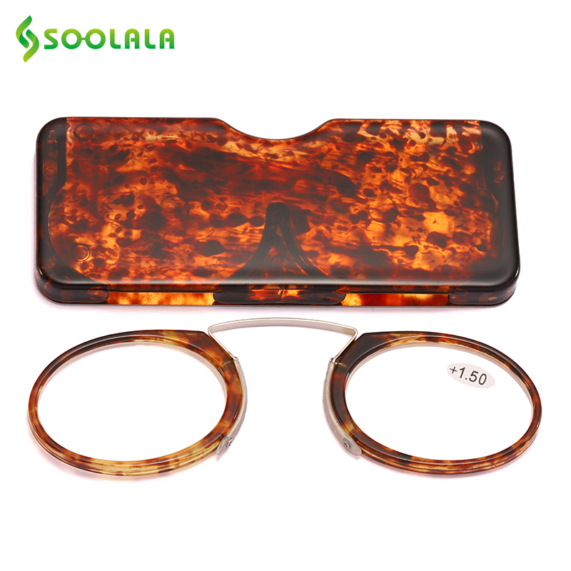 SOOLALA TR90 Magnet Reading Glasses With Case Nose Clip Portable Round Optical Frame Diopter Prescription Eyewear Women Men in Women 39 s Reading Glasses from Apparel Accessories