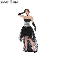 Beonlema Corsets and Bustiers Black White Bustiyer corselet Gothic Long Skirt For Women Clubwear Floral Lace Gorset Dress Set