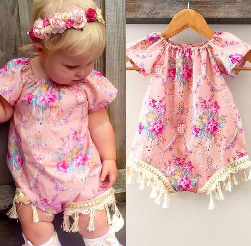Newborn Baby Girl Clothes Floral Romper Tassel Vintage Flower Jumpsuit Clothing Short Sleeve Summer Sunsuit Outfit Baby Girl 2017 floral baby romper newborn baby girl clothes ruffles sleeve bodysuit headband 2pcs outfit bebek giyim sunsuit 0 24m