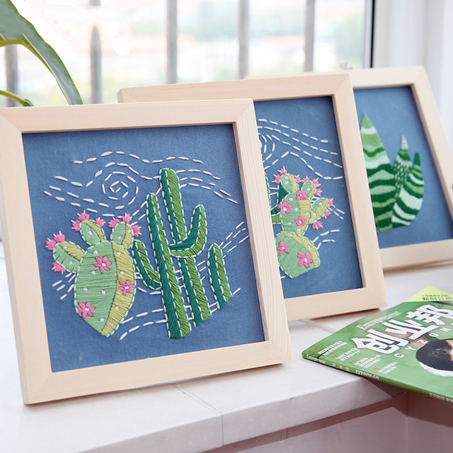 DIY Embroidery Ribbons Needlework Decorative Painting Cross Stitch Kit Frame Cactus Plant Prints Sewing Craft Home