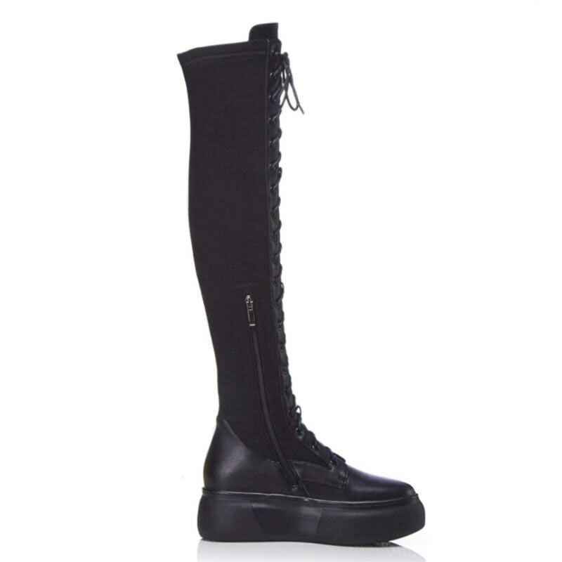 39 Fur Mode Black Haute Femmes Bottes Véritable Chaussures En black Sexy Longues black Cloth Taille Cuisse 2 De Dames Sloe Fur 1 Épais Cuir 34 D'hiver Rizabina UxF7HnF