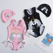 Nuevo 2019 niñas traje de baño 1 ~ 10 años niñas traje de baño una pieza unicornio niñas traje de baño con sombrero niños ropa de baño suit-ST120