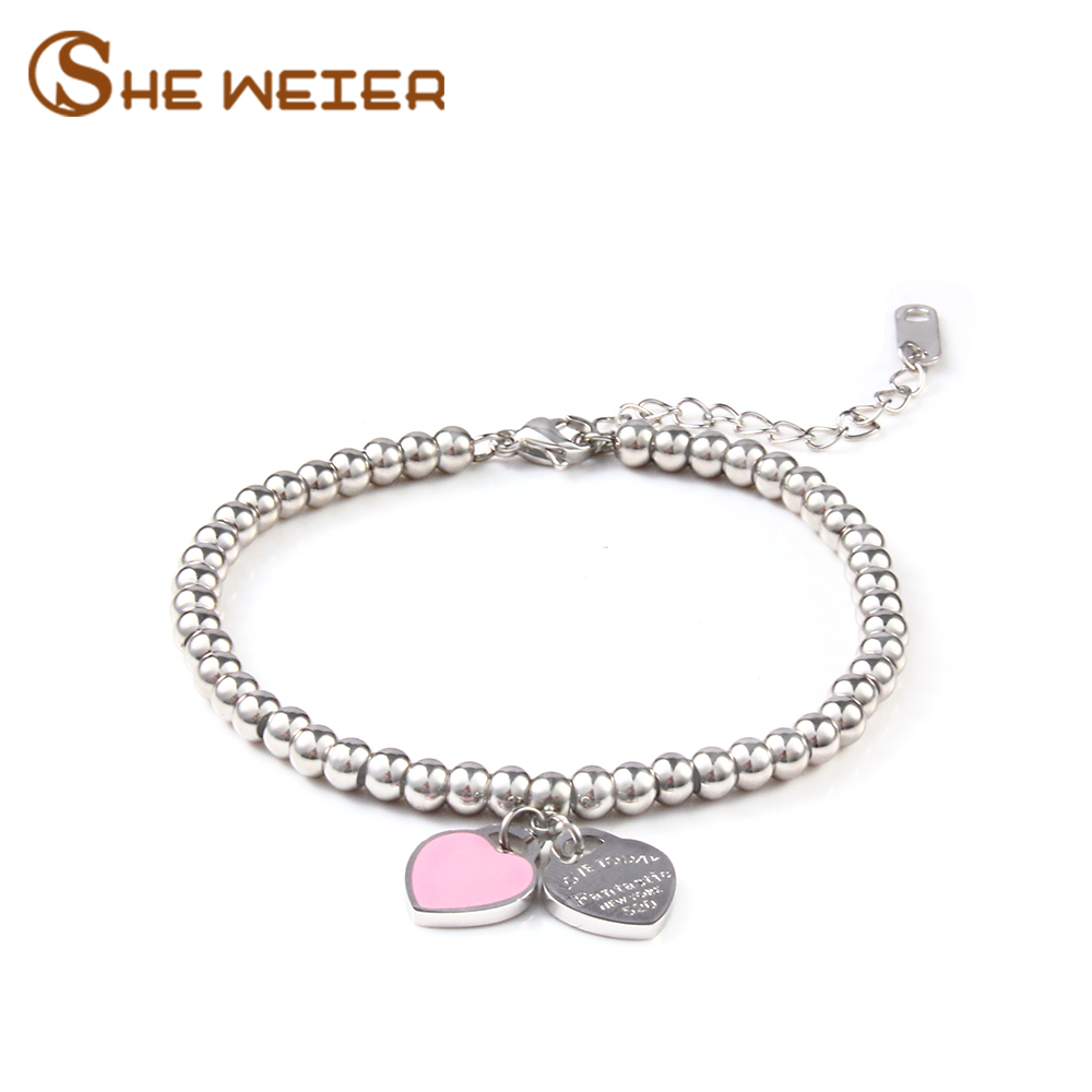SHE WEIER charm heart-shaped bracelet and bracelet beads ladies gifts women stainless steel jewelry bracelet gift party(China)