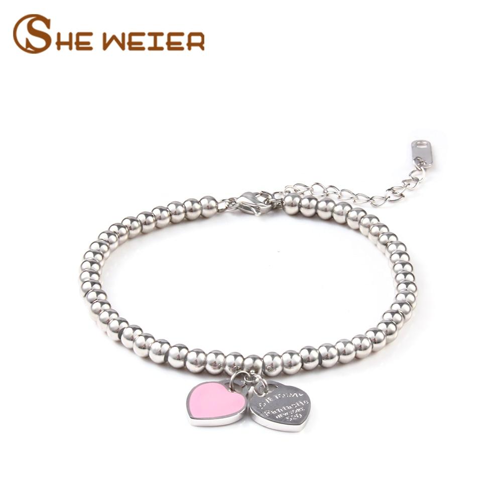 Она Вейер шармы в форме сердца браслеты & браслеты кольца с бусины femme Подарки для женщин, охватывающая деталь из нержавеющей стали ювелирные изделия браслет Серебряный подарок