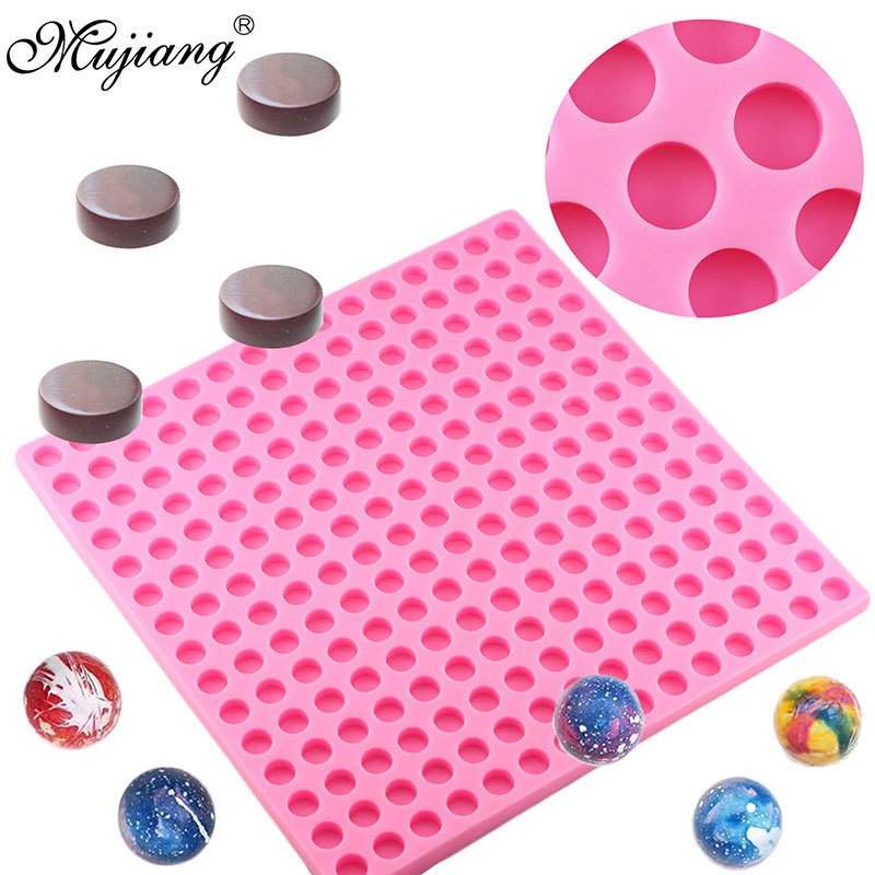 3D 225 Hole Round Shape Chocolate Silicone Mold Sugar Candy Clay Molds Fondant Cake Decorating Tools