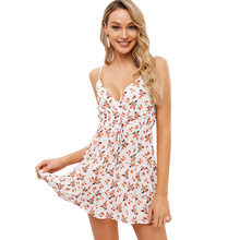 ZAFUL Drawstring Floral Surplice Cami Dress Women Fit And Flare Print Dress Casual Vacation Strap Mini A-Line Dress Sundress цены онлайн