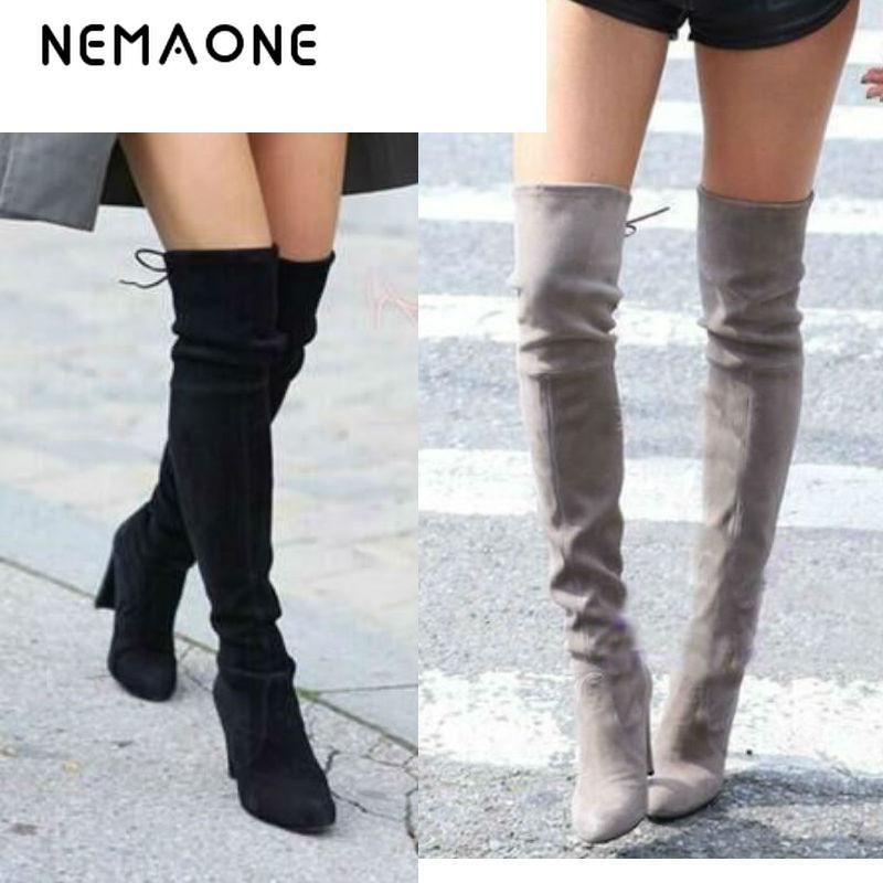 Women Stretch Faux Suede Slim Thigh High Boots Sexy Fashion Over the Knee Boots High Heels Woman Shoes Black Gray Winered women stretch fabric faux suede patchwork sexy thigh high boots comfort block heel female footwear slip on flower printed shoes