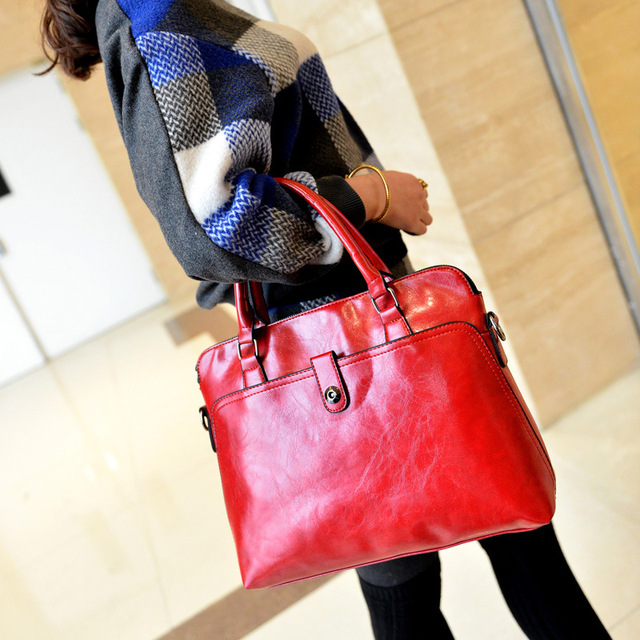 2016 new Fashion women's bags famous brand solid red pu handbag leather lady shoulder bags clutches diagonal mochila Casual tote