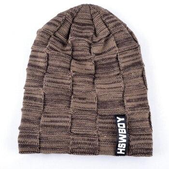 Autumn And Winter Bonnets Hat For Men Women Knitted Plaid Beanies Skullies Keep Warm Add Velvet Caps Men Bonnet Touca Muts 2