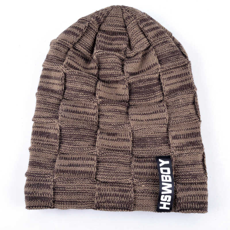 Autumn And Winter Casual Style Bonnet Hat For Men Knitted Plaid Beanies Skullies