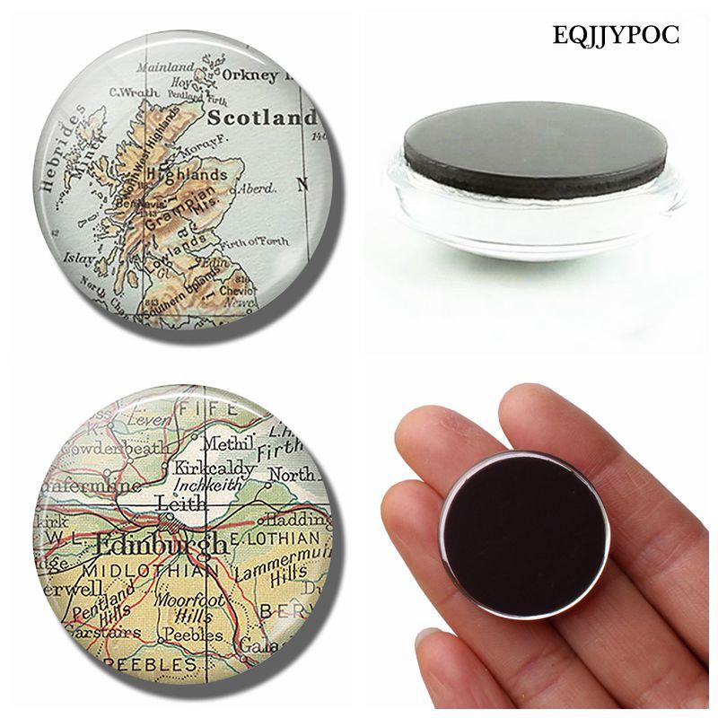 Leith Scotland Map.Edinburgh Scotland Map 30 Mm Fridge Magnet Leith Map Glass Cabochon