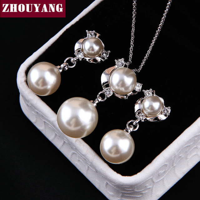 ZHOUYANG ZYS018 Pearl  Platinum Plated Elegant Wedding Jewelry Necklace Earring Set Rhinestone Made with Austrian  Crystals