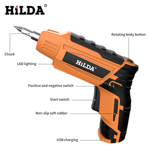 Image 5 - HILDA Беспроводная электрическая отвертка Бытовая аккумуляторная батарея отвертка Мини дрель электрическая дрель электроинструменты