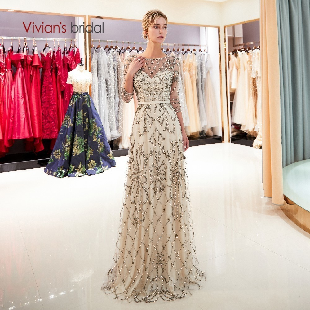 Vivian's Bridal 2018 Hand Made Crystal Bead Pattern Women Formal   Evening     Dress   Navy Blue Champagne Gold Sweep Train Full   Dress