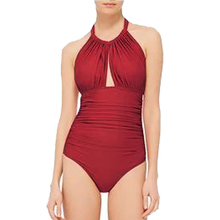 2018 New Swimwear Women One piece swimsuit Vintage Bathing Suit Halterneck Monkini Ruched Solid Red High Cut Out Backless Bikini