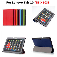 "Ultra Slim Karst Tri-folding Stand PU Leather Case Cover For Lenovo Tab 10 TB-X103F X103F 10.1"" Tablet funda With Magnetic"