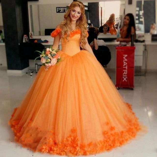 Robe De Mariage Plus Size Orange African Flowers Wedding Dresses 2017 Ball  Gowns Cheap Women Appliqued