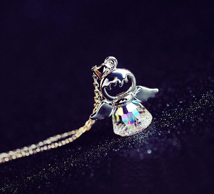 New Luxury Fashion Guardian angel Swarovski Crystal from Maxi Necklace Collier For women 925 Silver pendant necklace jewelry