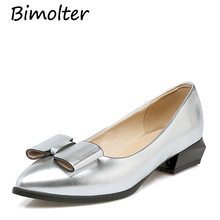 Bimolter Patent Leather Boat Shoes 3cm Heels New Fashion Butterfly-Knot Flats Casual Low Loafers Red PFEA013