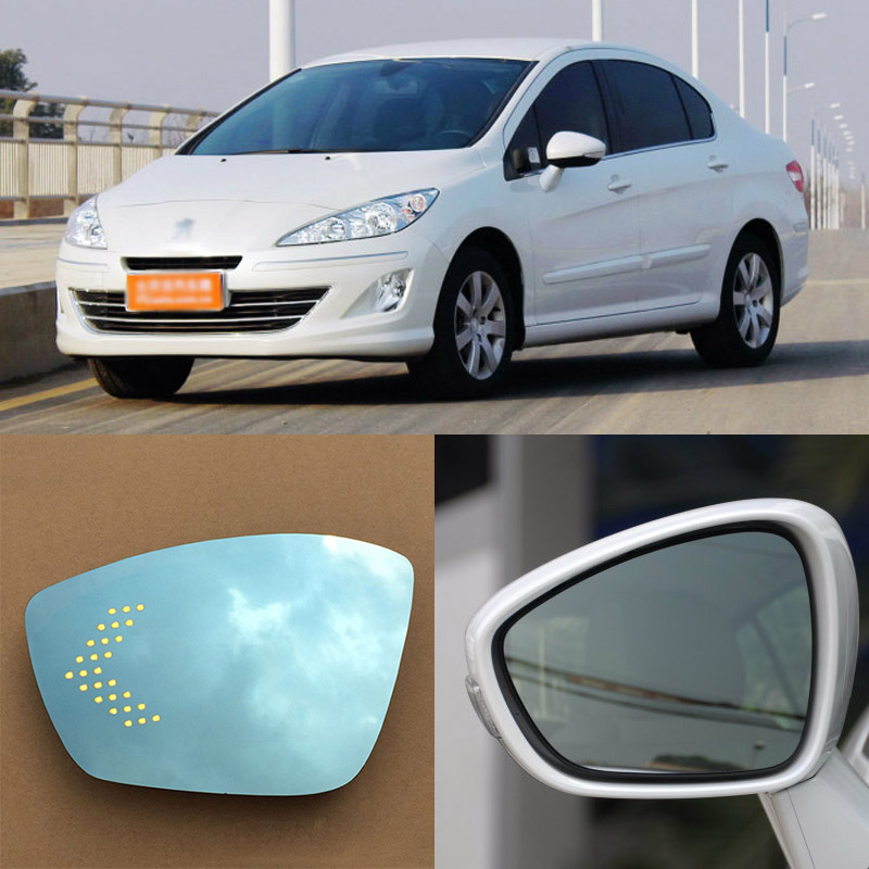 Brand New Car Rearview Mirror Blue Glasses LED Turning Signal Light with Heating For Peugeot 408 for volkswagen sagitar brand new car rearview mirror blue glasses led turning signal light with heating