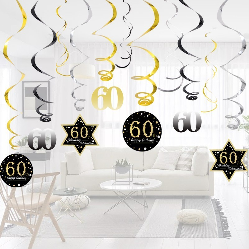 Image 4 - Hot!18/30/40/50/60 Year Olds DIY Spiral Ornaments Birthday Confetti Balloon Birthday Balons Anniversary Party Decorations-in Party DIY Decorations from Home & Garden