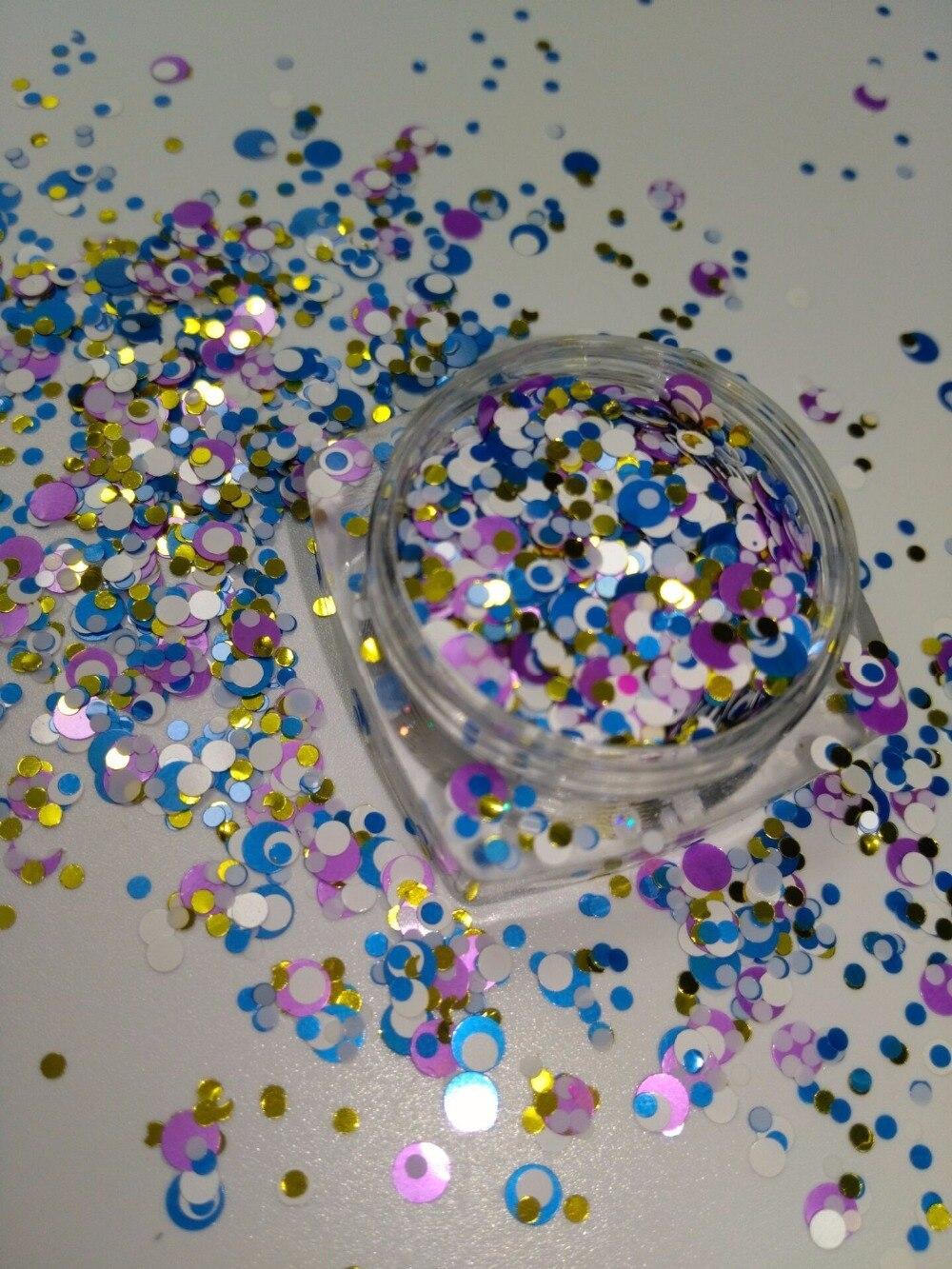 Nagelglitzer Ym-0121/2/3 Mm Glitter Mix iris Runde Dot Spangle Form Glitter Flake Kosmetische Pulver Für Nagel Gel Polish-50g/200 Gr/beutel Einfach Zu Schmieren