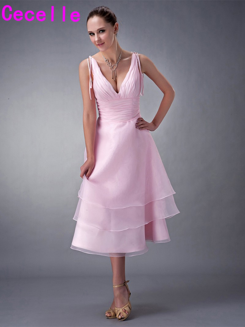Pink Short Bridesmaid Dresses Sexy V Neck Straps Pleats Organza Country Wedding Party Dress Knee Length A-line Bridesmaid Robes